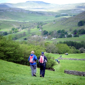 Members of Swaledale Outdoor Club approach Crummackdale on A Dales High Way