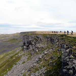 walkers above Hangingstone Scar, Mallerstang